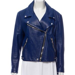 Reformation Blue Leather Jacket